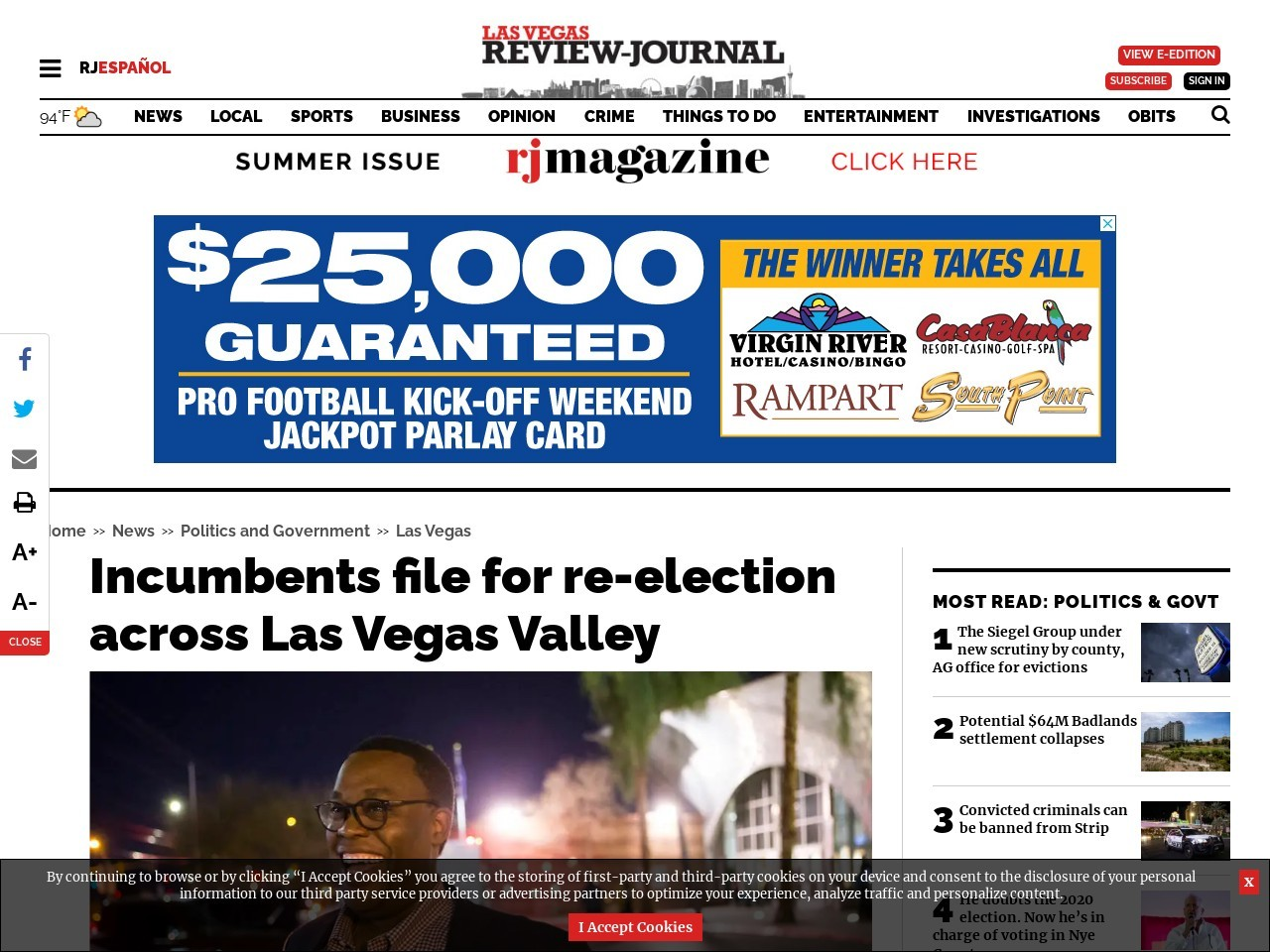 Incumbents file for re-election in Las Vegas, North Las Vegas