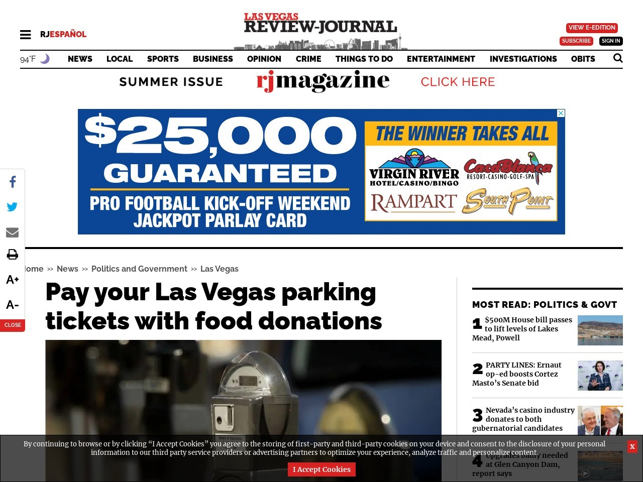 Las Vegas OKs paying for parking tickets with donated food