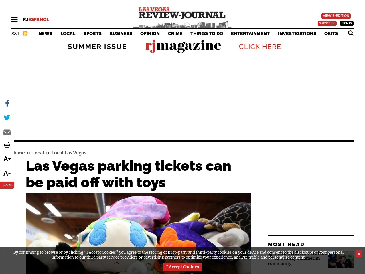 Las Vegas parking tickets can be paid off with toys
