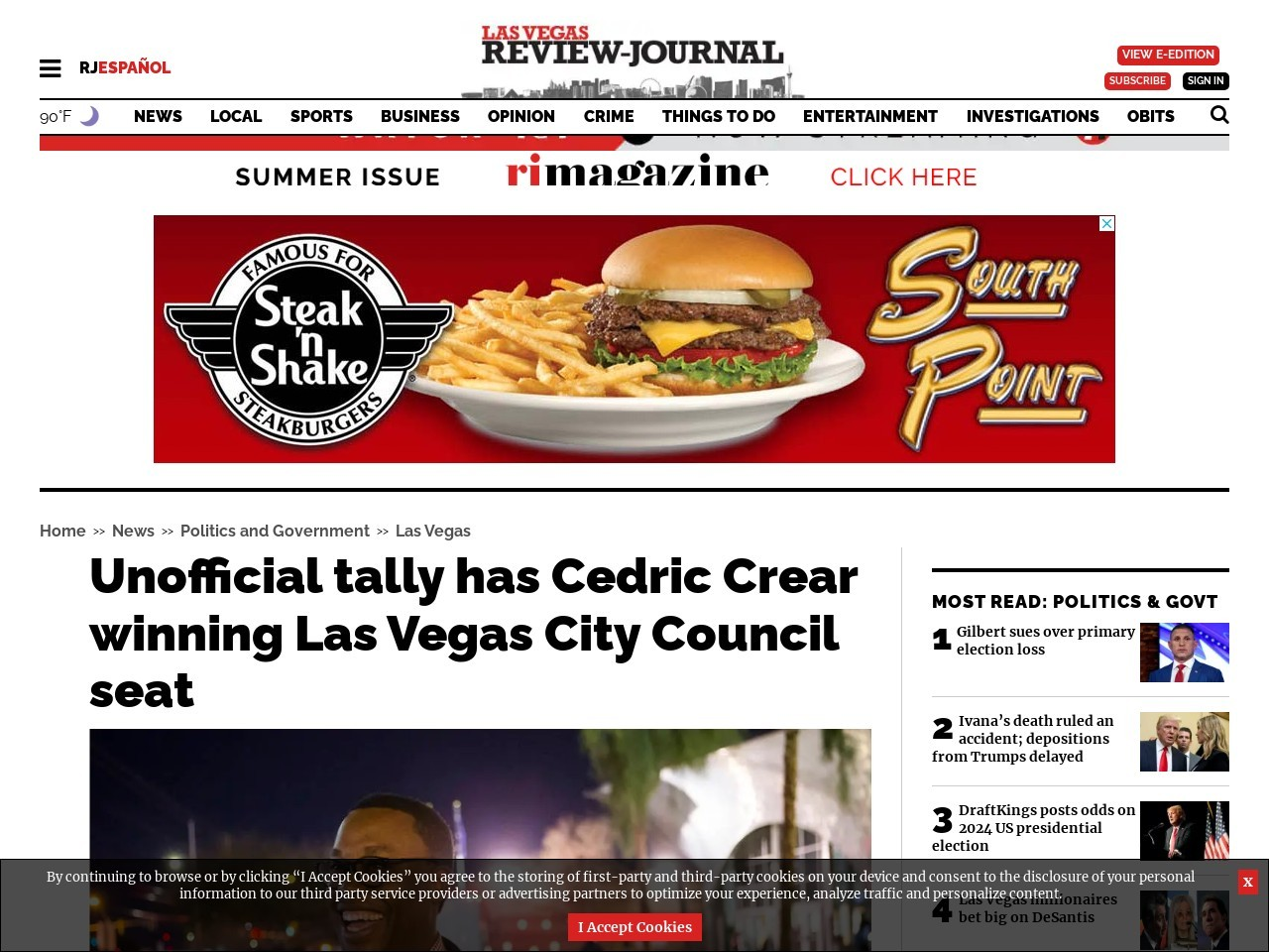 Unofficial tally has Cedric Crear winning Las Vegas City Council seat