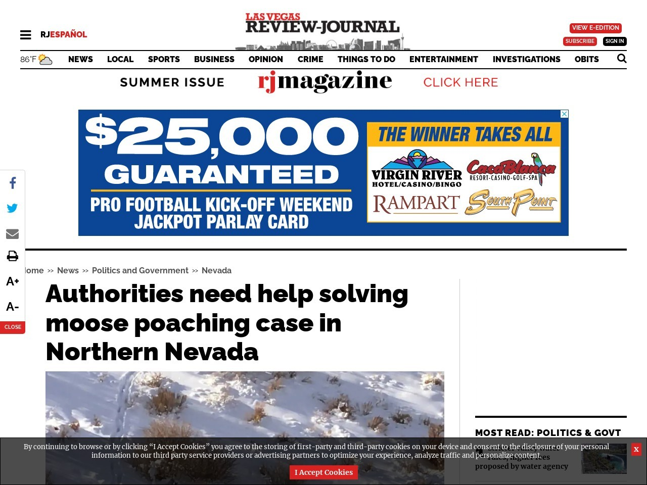 Authorities need help solving moose poaching case in Northern Nevada