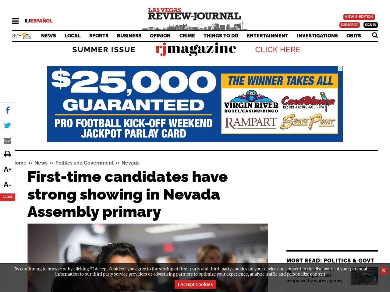 First-time candidates have strong showing in Nevada Assembly primary