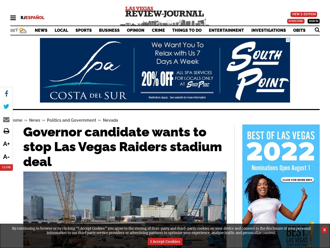 Governor candidate wants to stop Las Vegas Raiders stadium deal