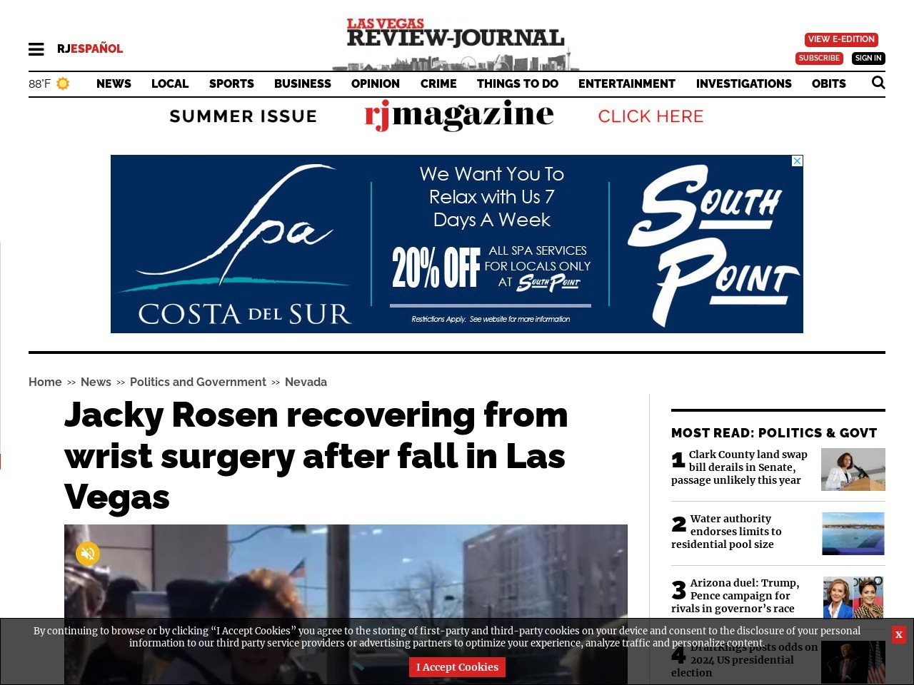 Jacky Rosen recovering from wrist surgery after fall in Las Vegas