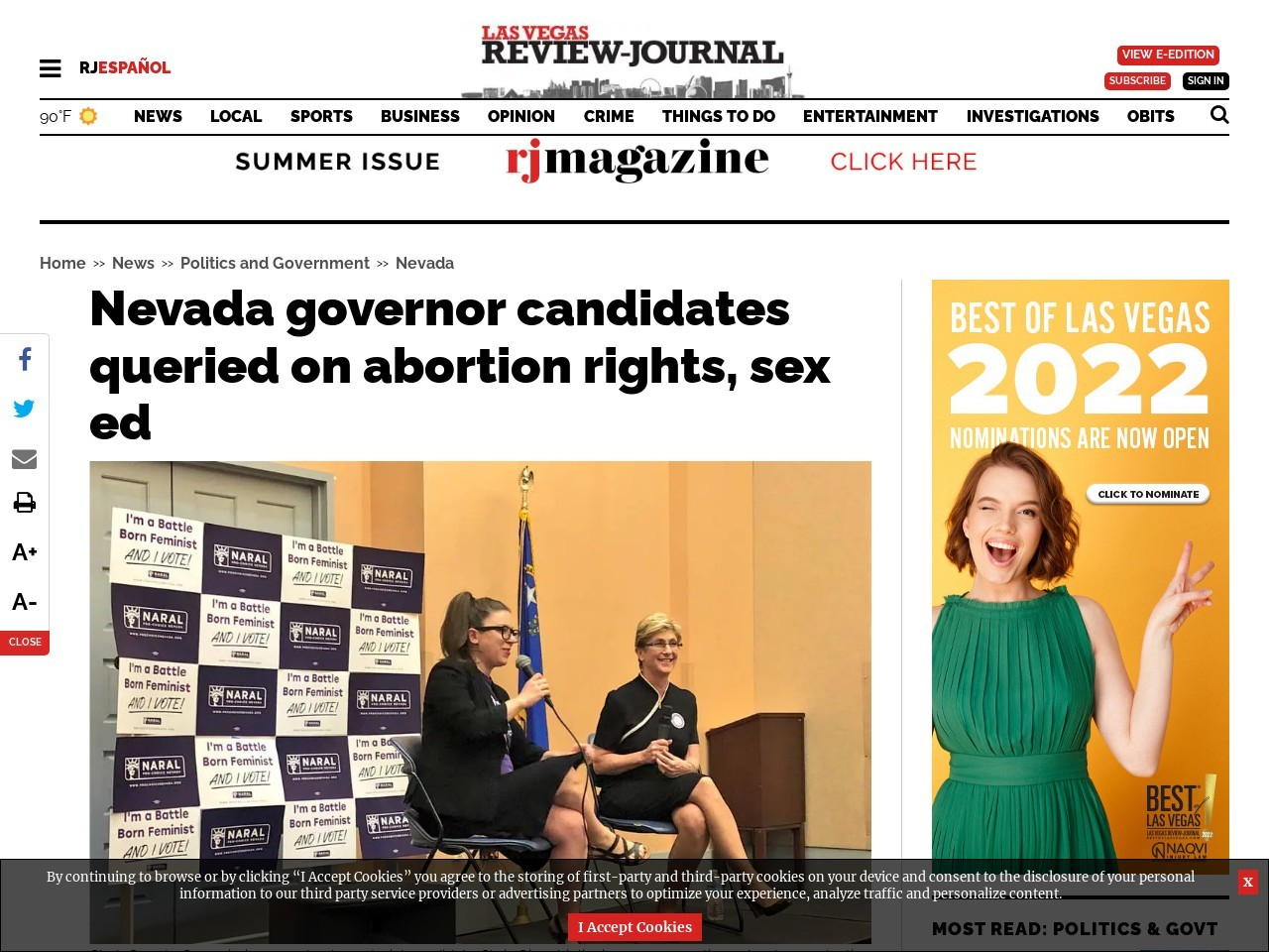 Nevada governor candidates queried on abortion rights, sex ed