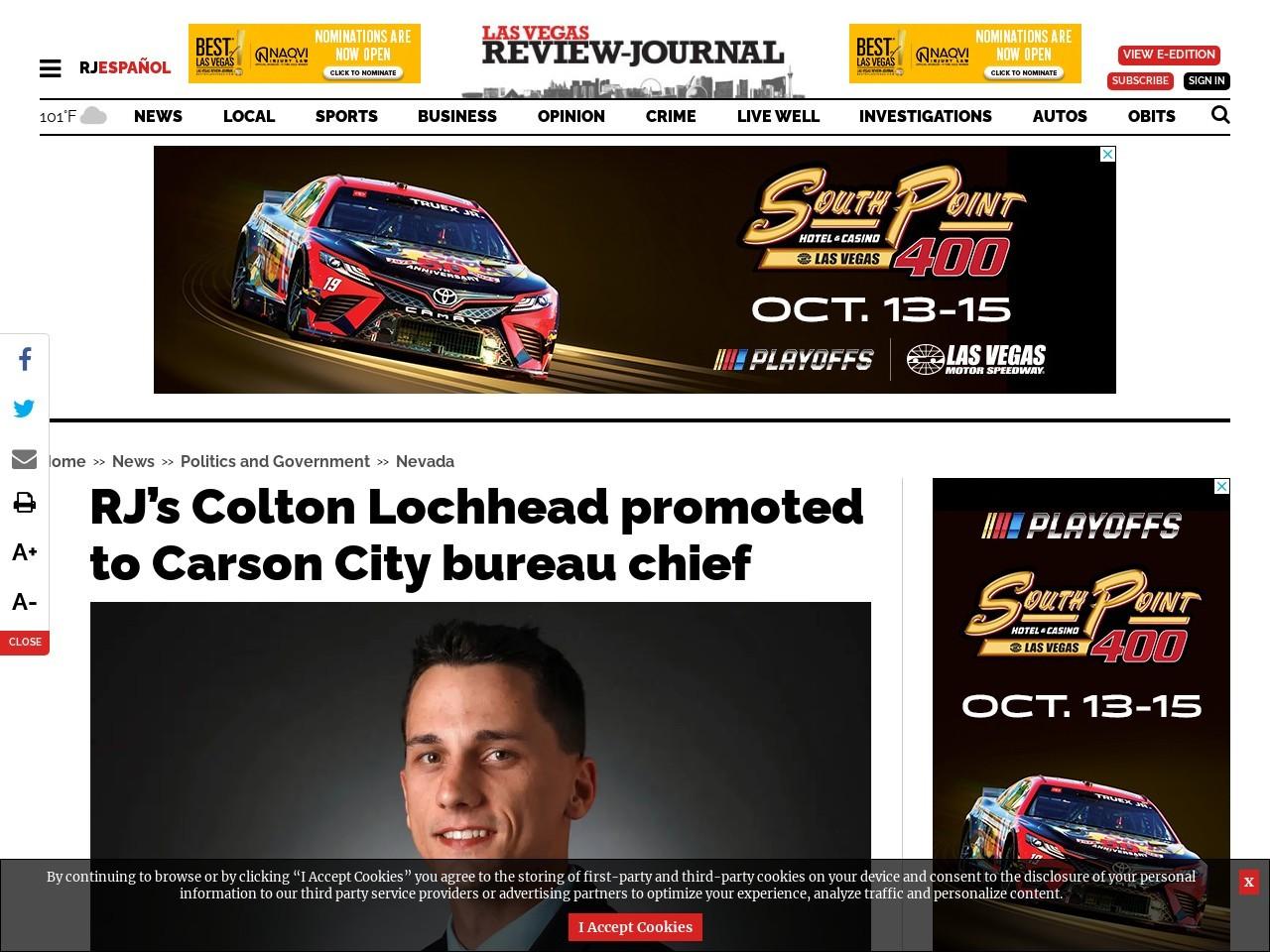 RJ's Colton Lochhead promoted to Carson City bureau chief