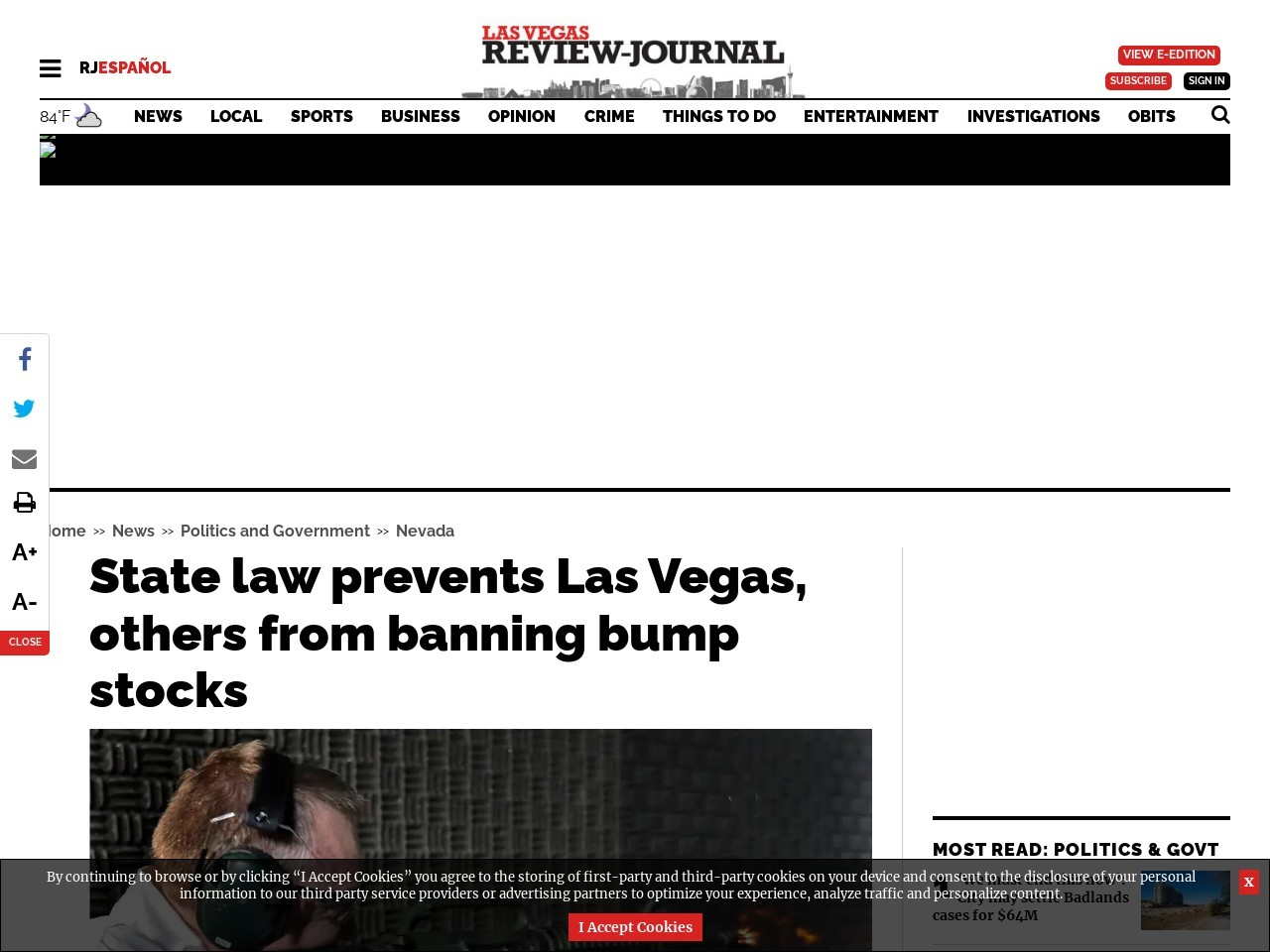State law prevents Las Vegas, others from banning bump stocks