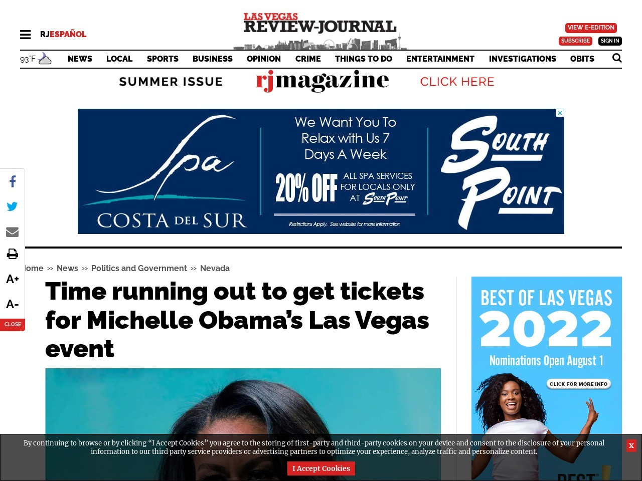 Time running out to get tickets for Michelle Obama's Las Vegas event