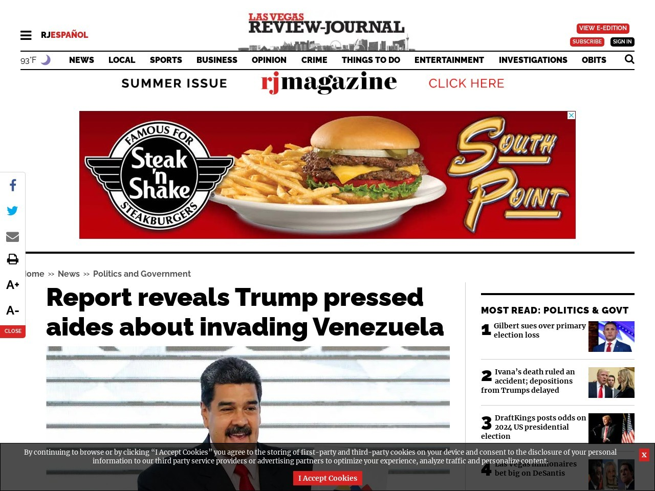 Report reveals Trump pressed aides about invading Venezuela