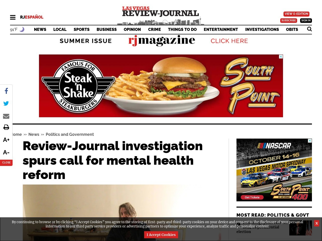 Review-Journal investigation spurs call for mental health reform