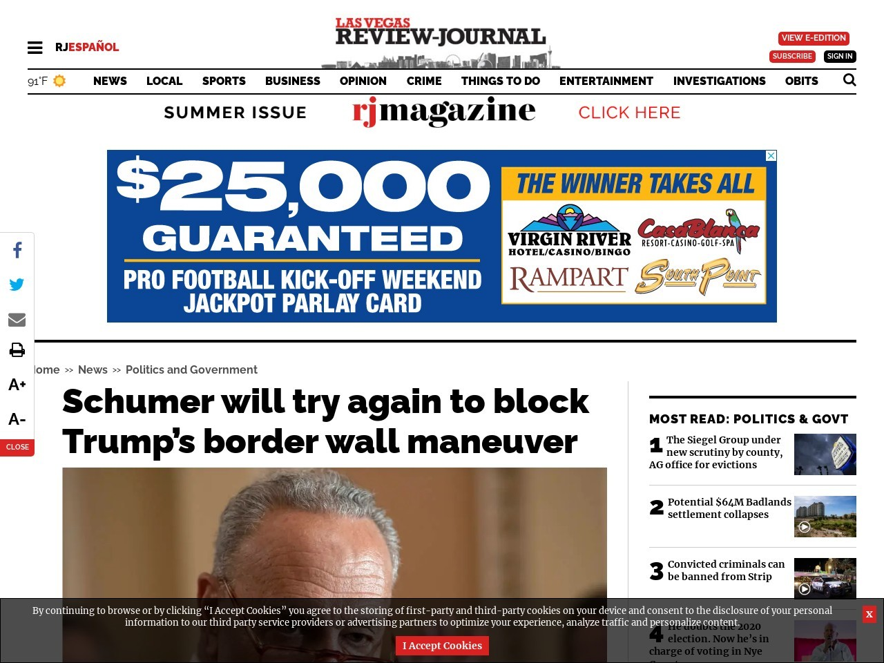 Schumer will try again to block Trump's border wall maneuver