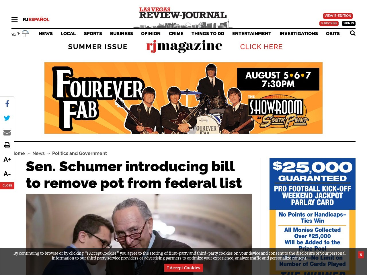 Sen. Schumer introducing bill to remove pot from federal list