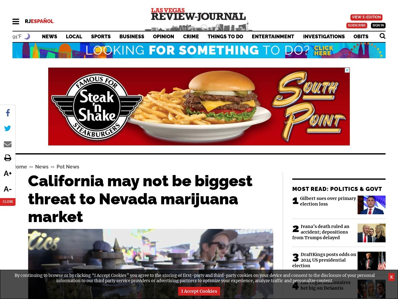 California may not be biggest threat to Nevada marijuana market