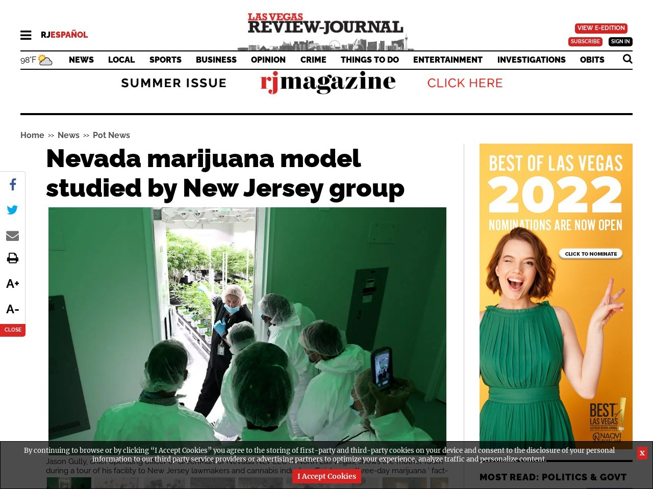 Nevada marijuana model will be studied by New Jersey group