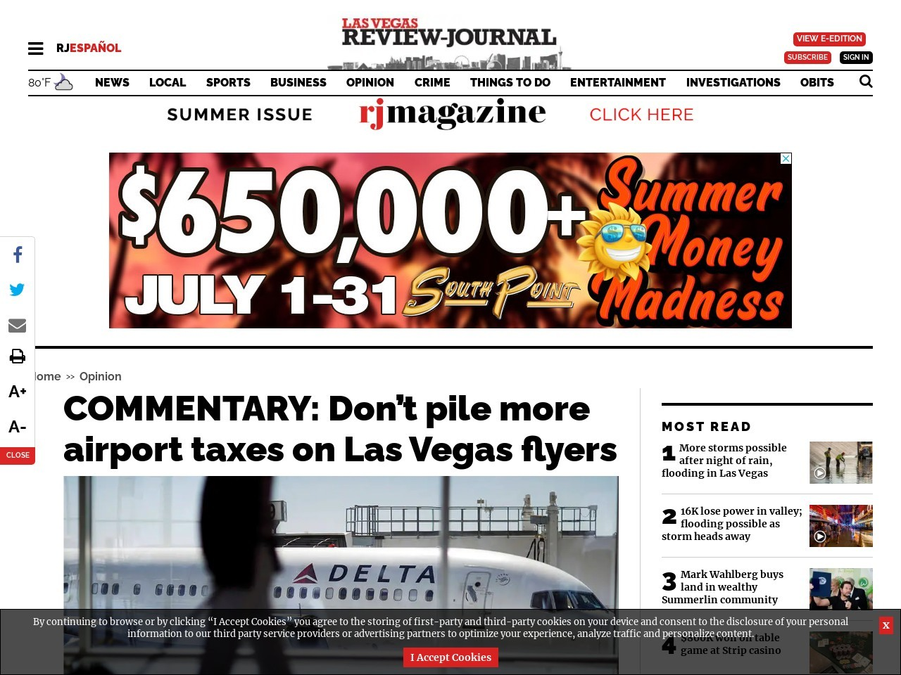 COMMENTARY: Don't pile more airport taxes on Las Vegas flyers