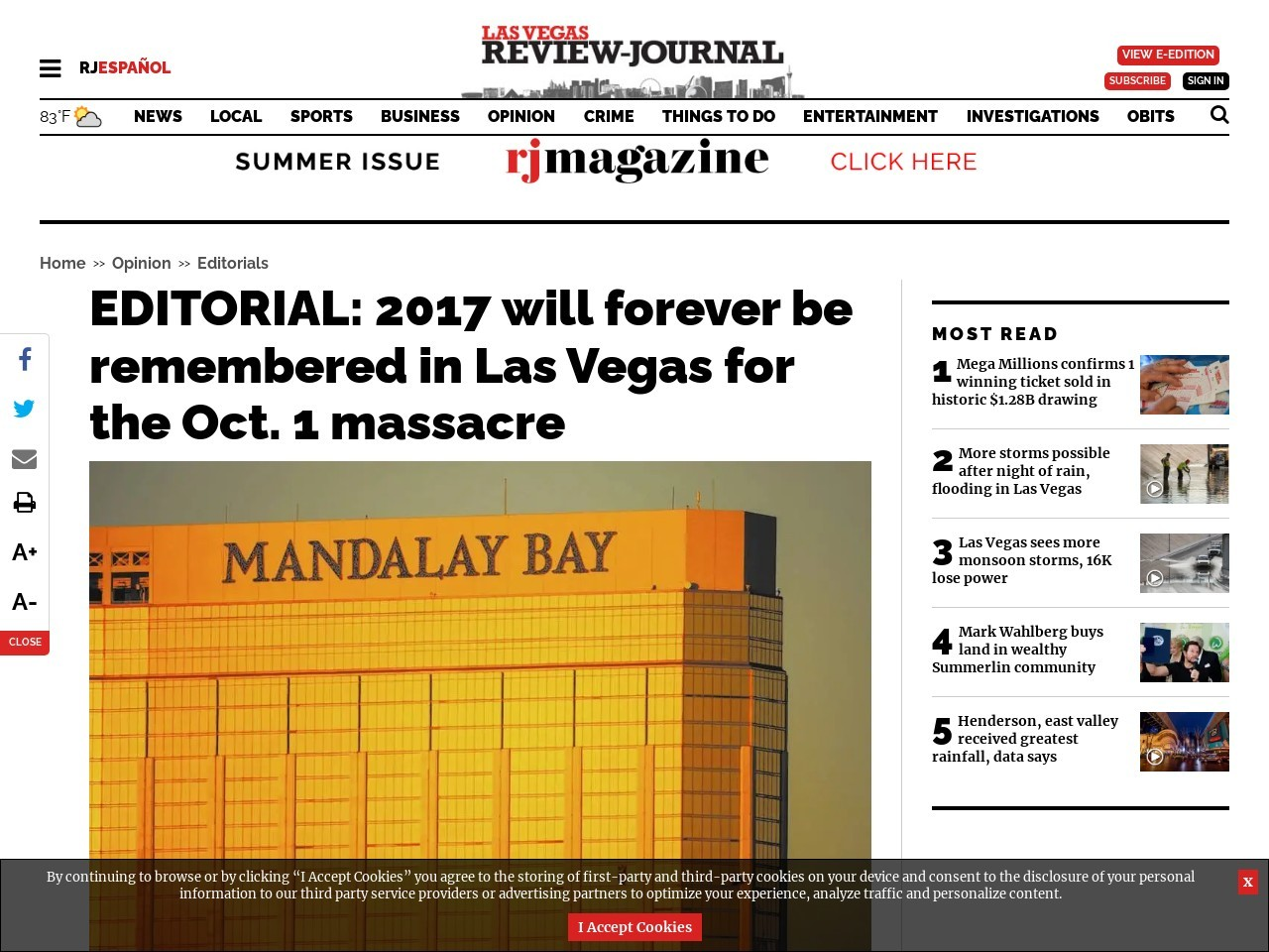 EDITORIAL: 2017 will forever be remembered in Las Vegas for the Oct. 1 massacre