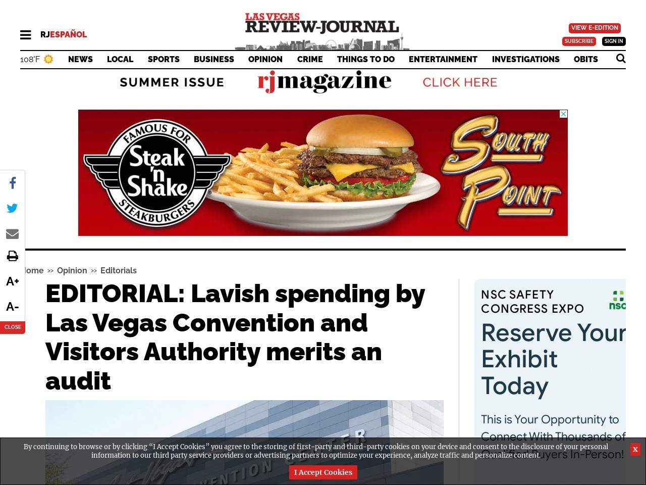 EDITORIAL: Lavish spending by Las Vegas Convention and Visitors Authority merits an audit
