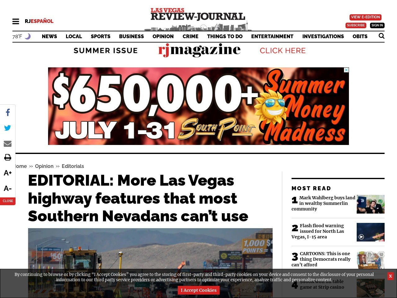 EDITORIAL: More Las Vegas highway features that most Southern Nevadans can't use