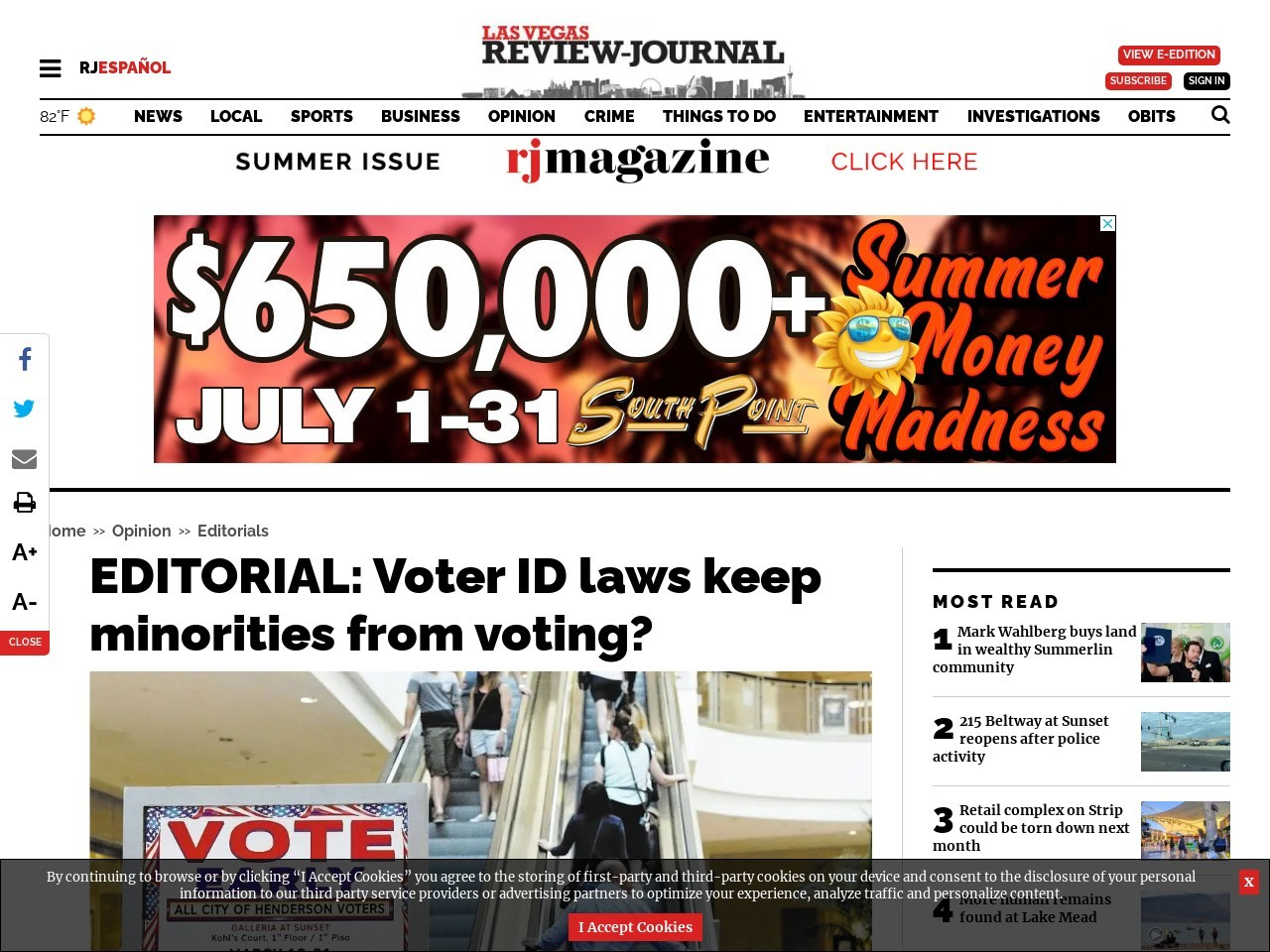 EDITORIAL: Voter ID laws keep minorities from voting?