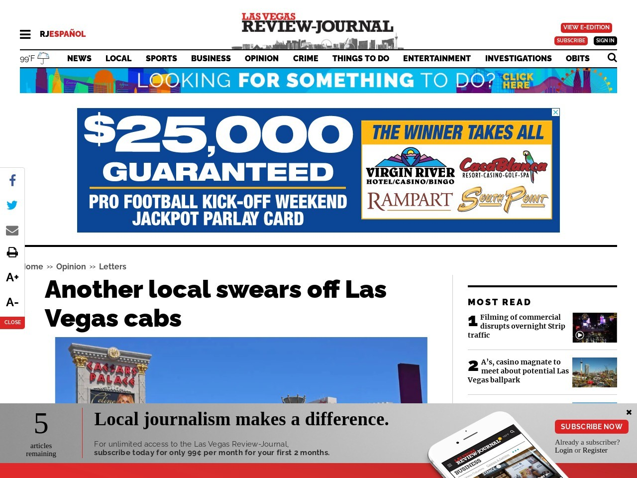 Another local swears off Las Vegas cabs
