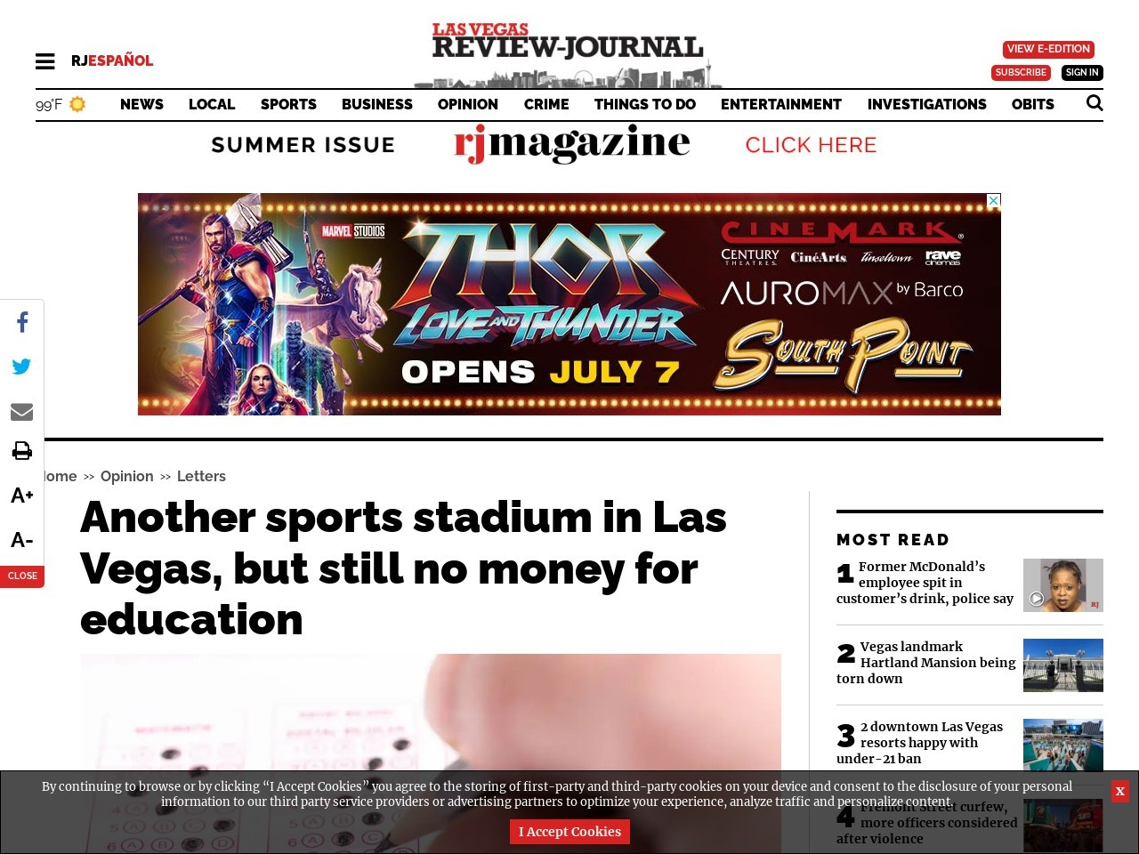 Another sports stadium in Las Vegas, but still no money for education