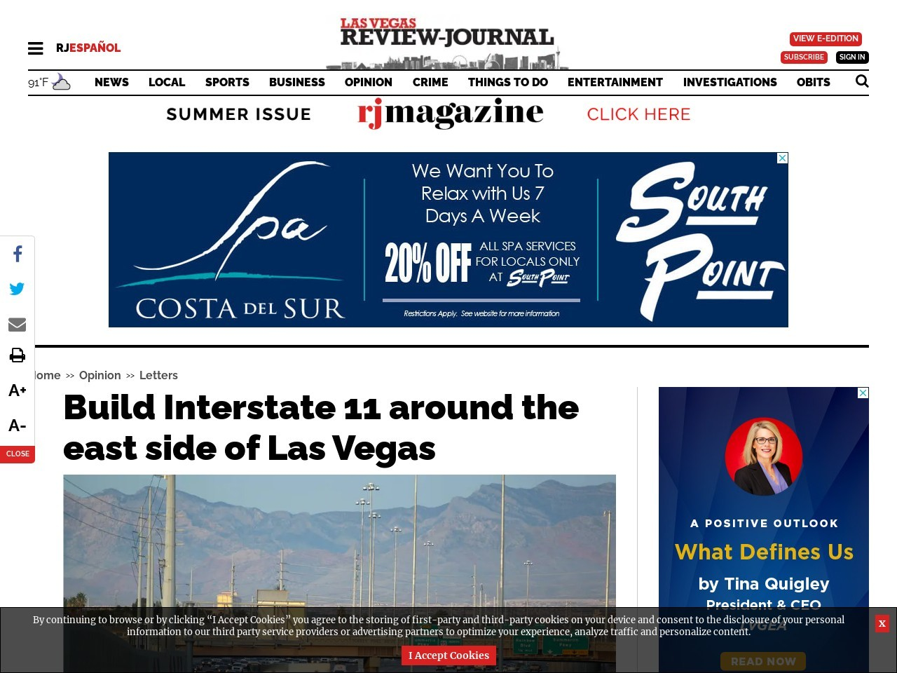 Build Interstate 11 around the east side of Las Vegas