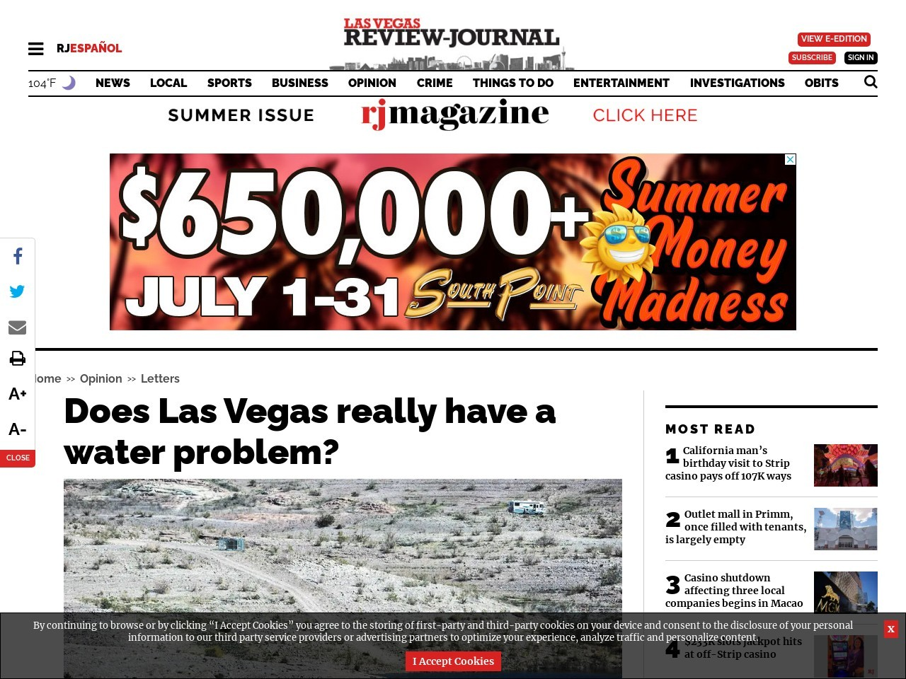 Does Las Vegas really have a water problem?