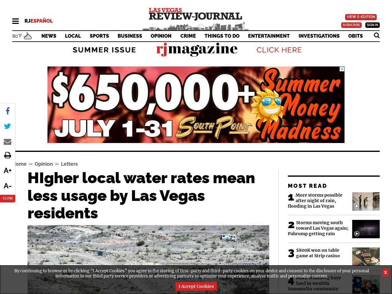 HIgher local water rates mean less usage by Las Vegas residents