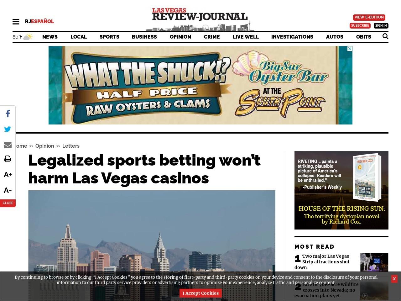 Legalized sports betting won't harm Las Vegas casinos