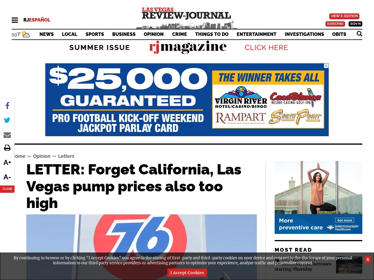 LETTER: Forget California, Las Vegas pump prices also too high
