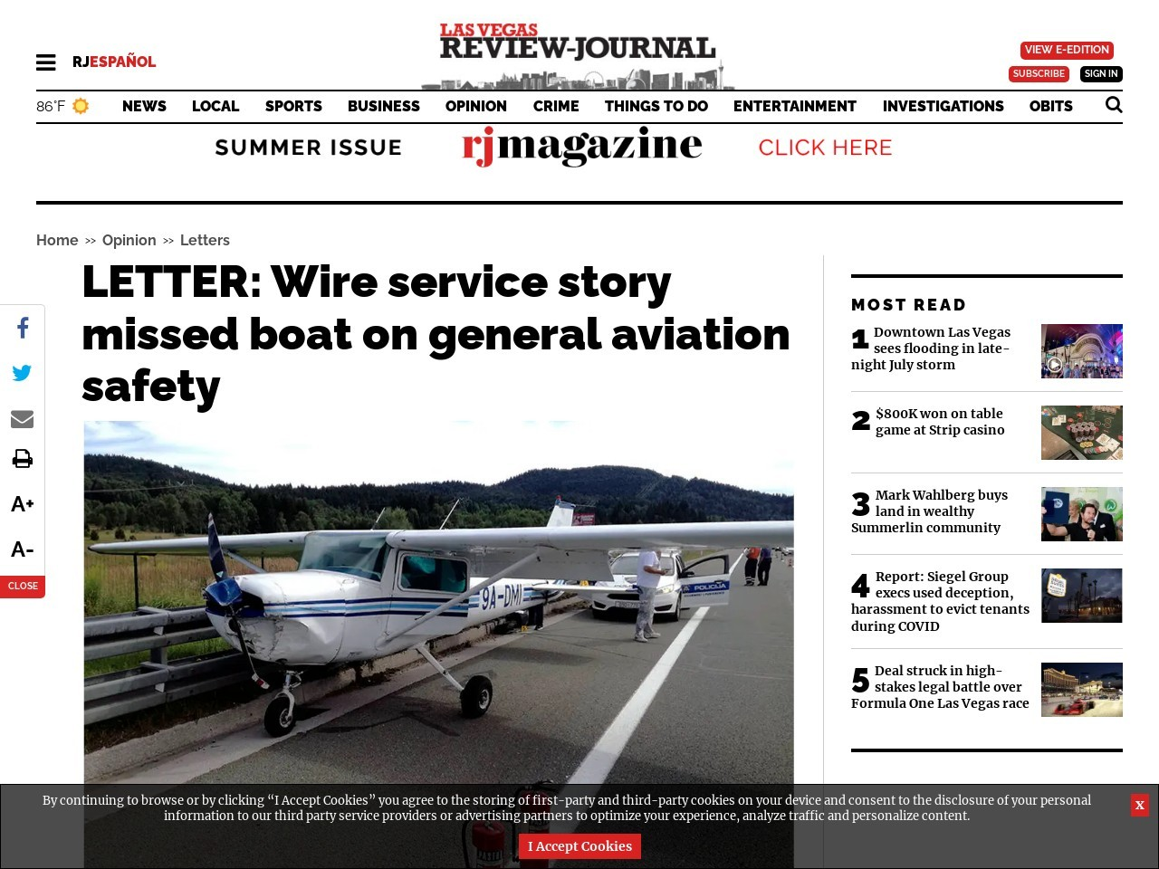 LETTER: Wire service story missed boat on general aviation safety