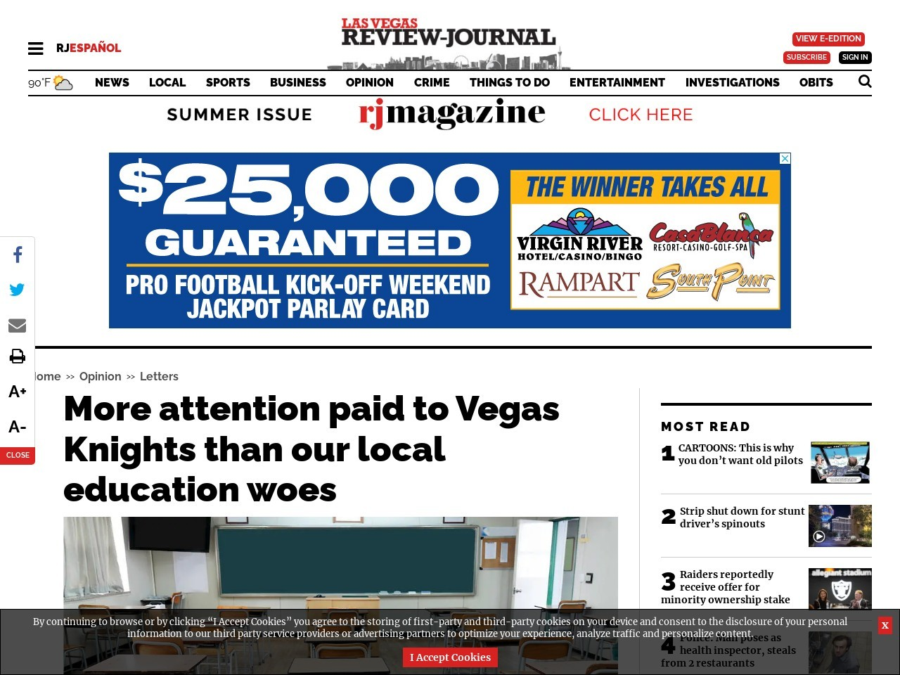 More attention paid to Vegas Knights than our local education woes
