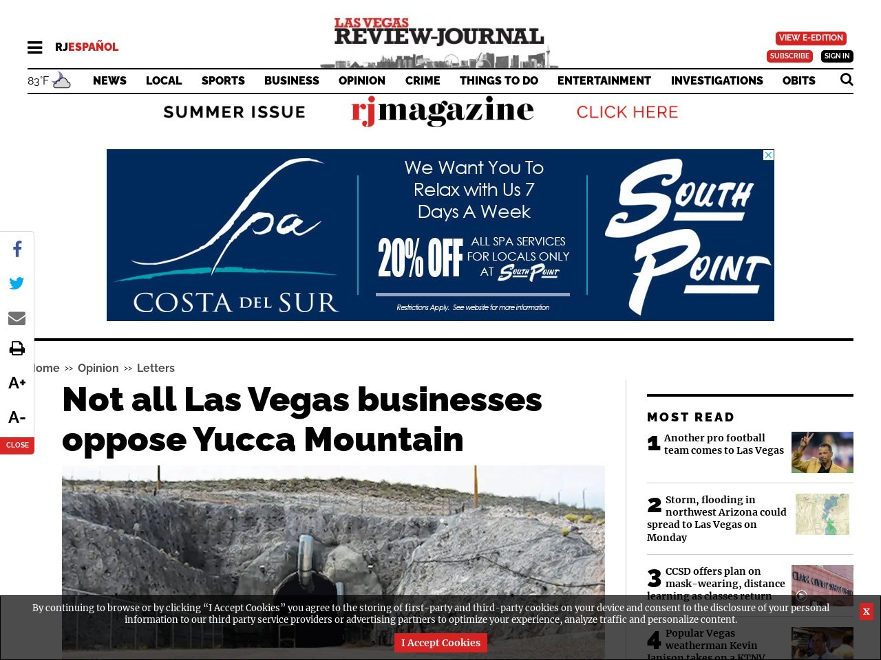 Not all Las Vegas businesses oppose Yucca Mountain