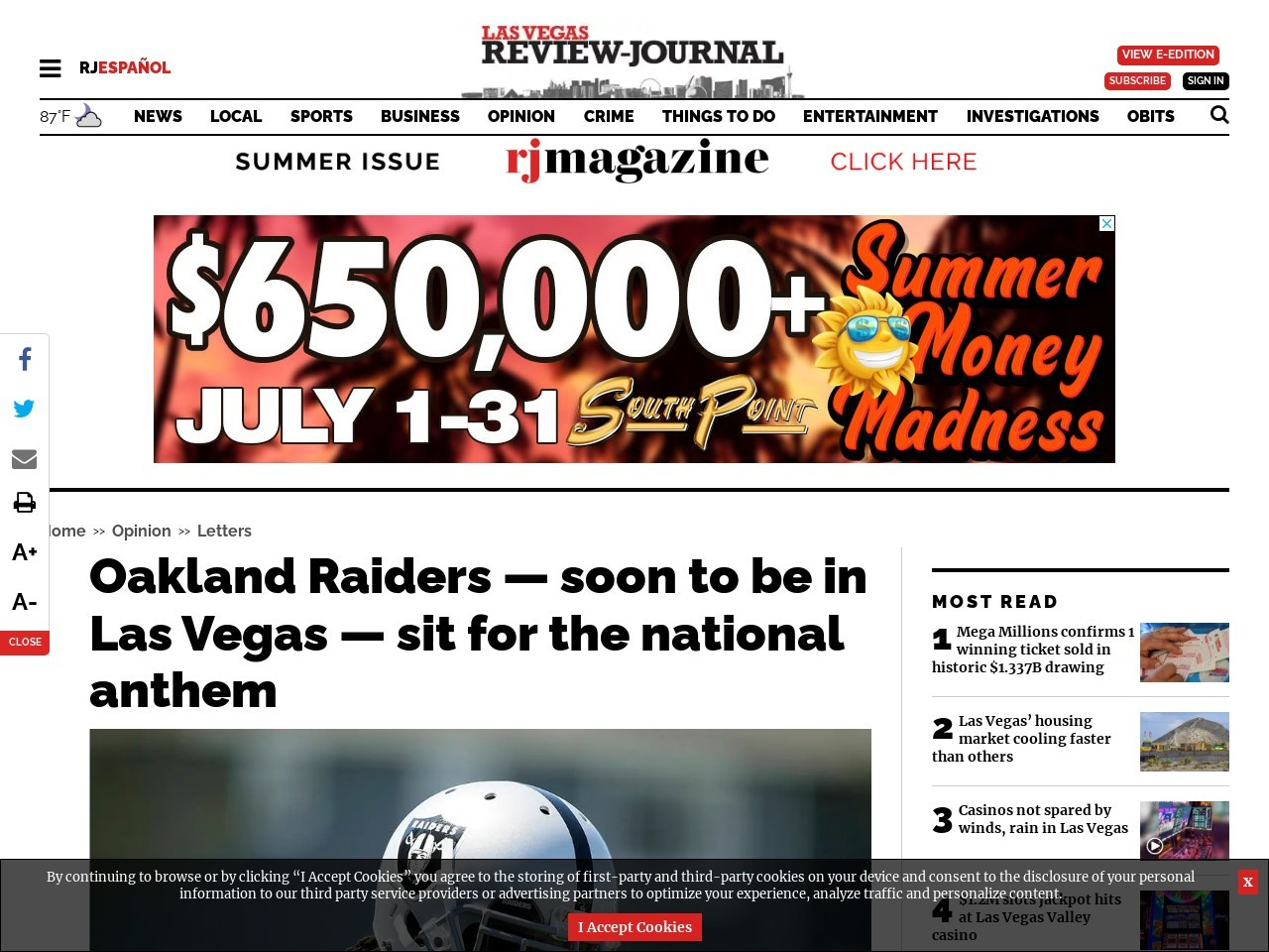 Oakland Raiders — soon to be in Las Vegas — sit for the national anthem