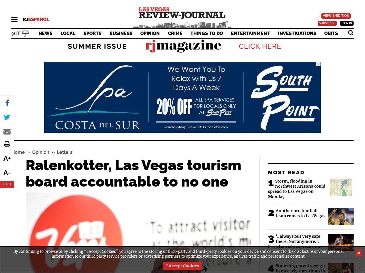 Ralenkotter, Las Vegas tourism board accountable to no one