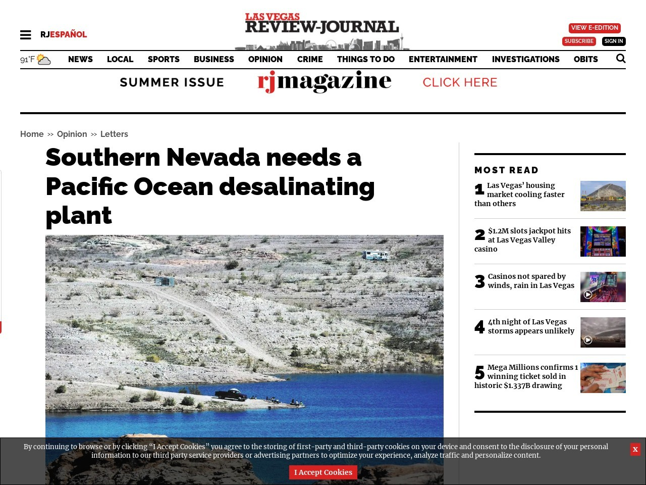 Southern Nevada needs a Pacific Ocean desalinating plant