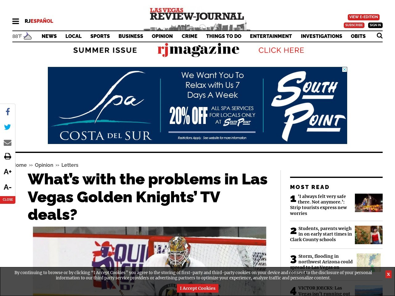 What's with the problems in Las Vegas Golden Knights' TV deals?