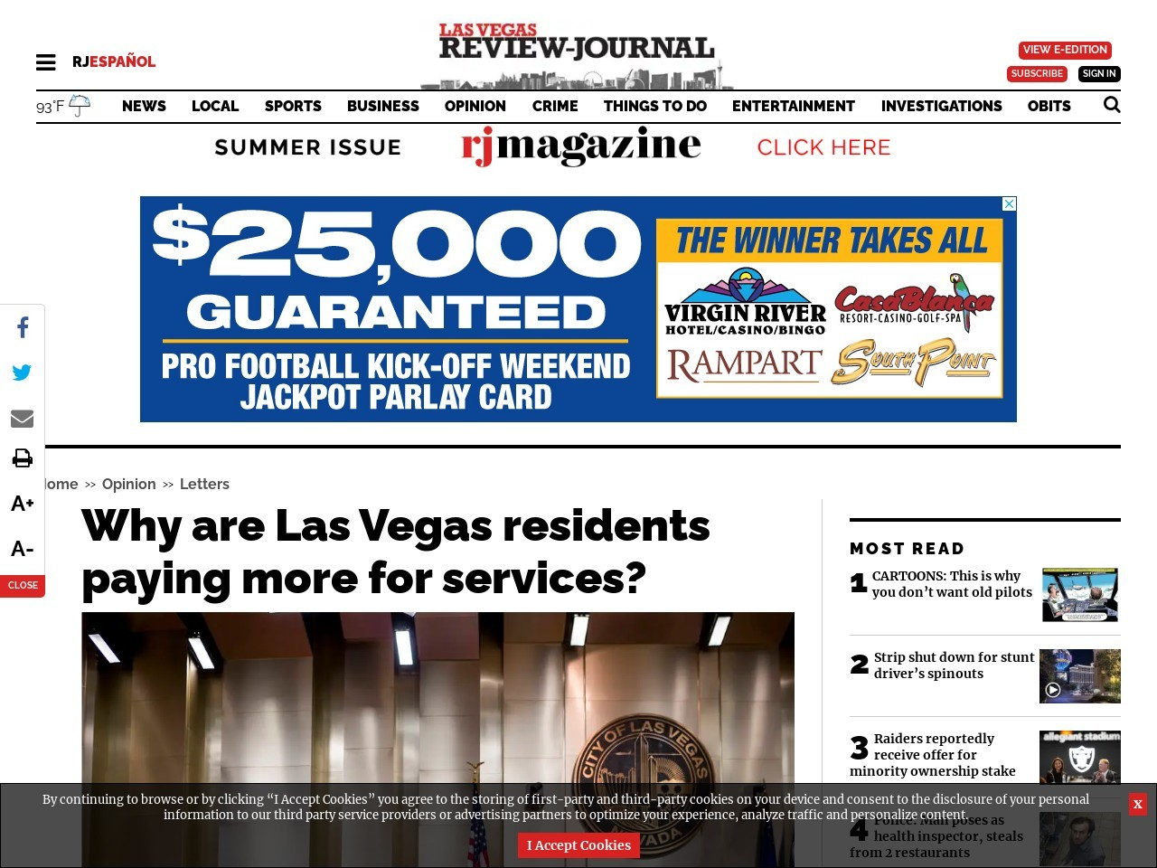 Why are Las Vegas residents paying more for services?