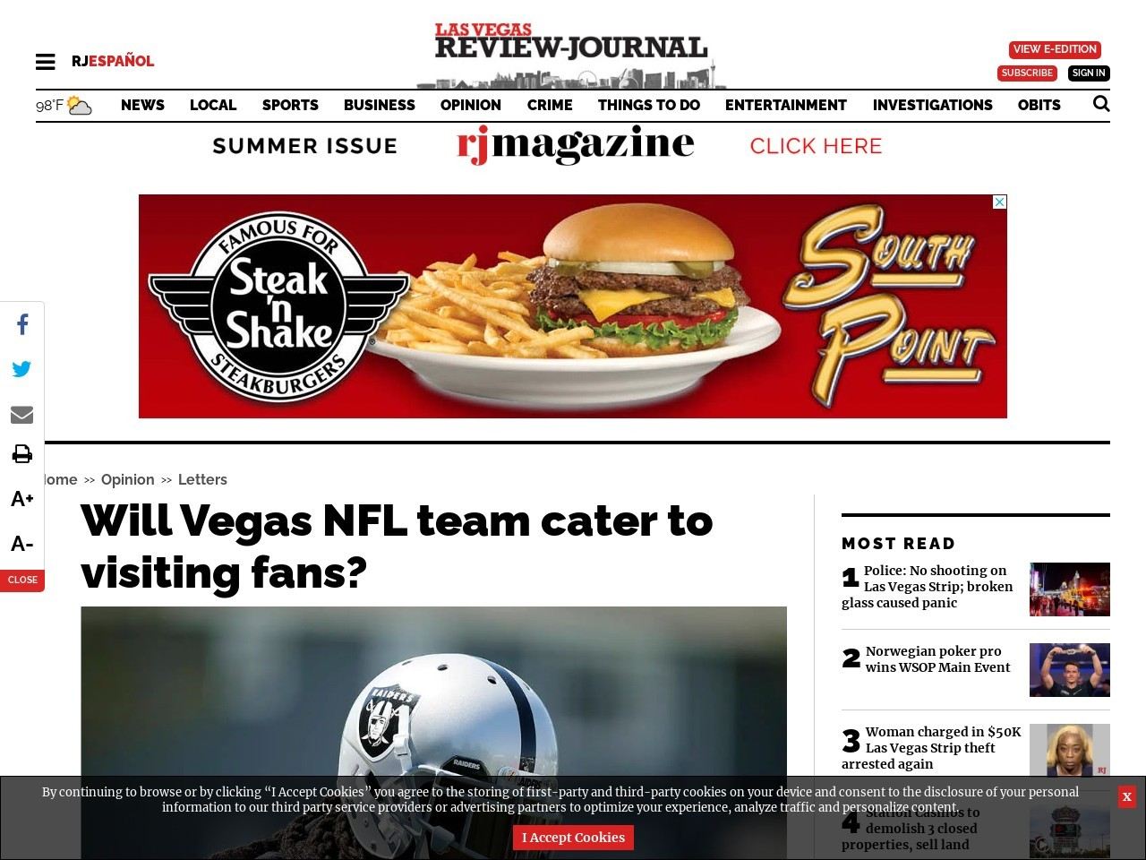Will Vegas NFL team cater to visiting fans?