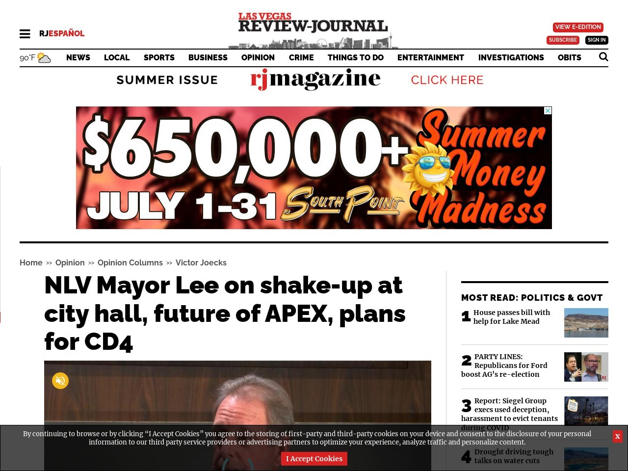 NLV Mayor Lee on shake-up at city hall, future of APEX, plans for CD4