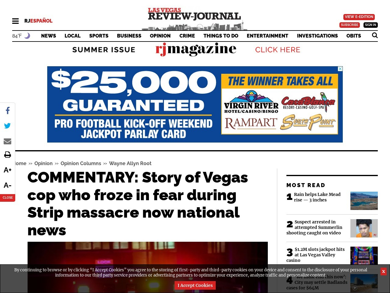 COMMENTARY: Story of Vegas cop who froze in fear during Strip massacre now national news