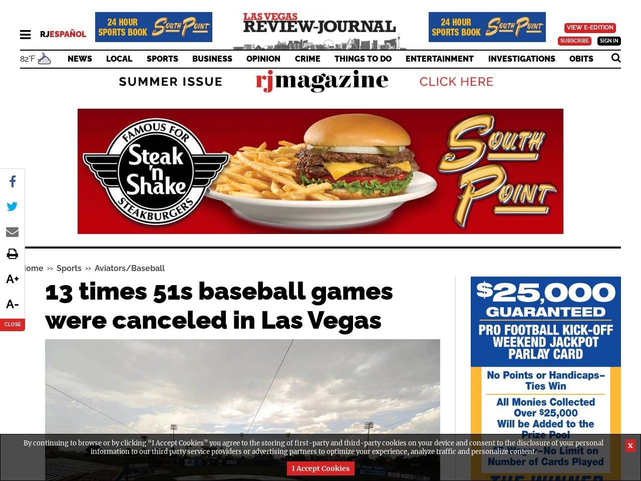 13 times 51s baseball games were canceled in Las Vegas
