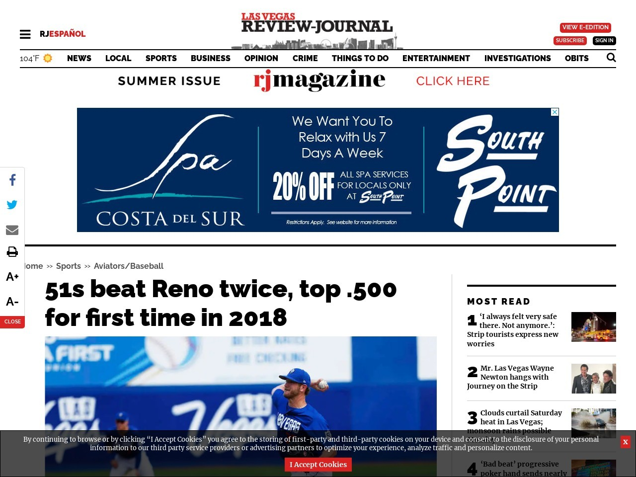 51s beat Reno twice, top .500 for first time in 2018