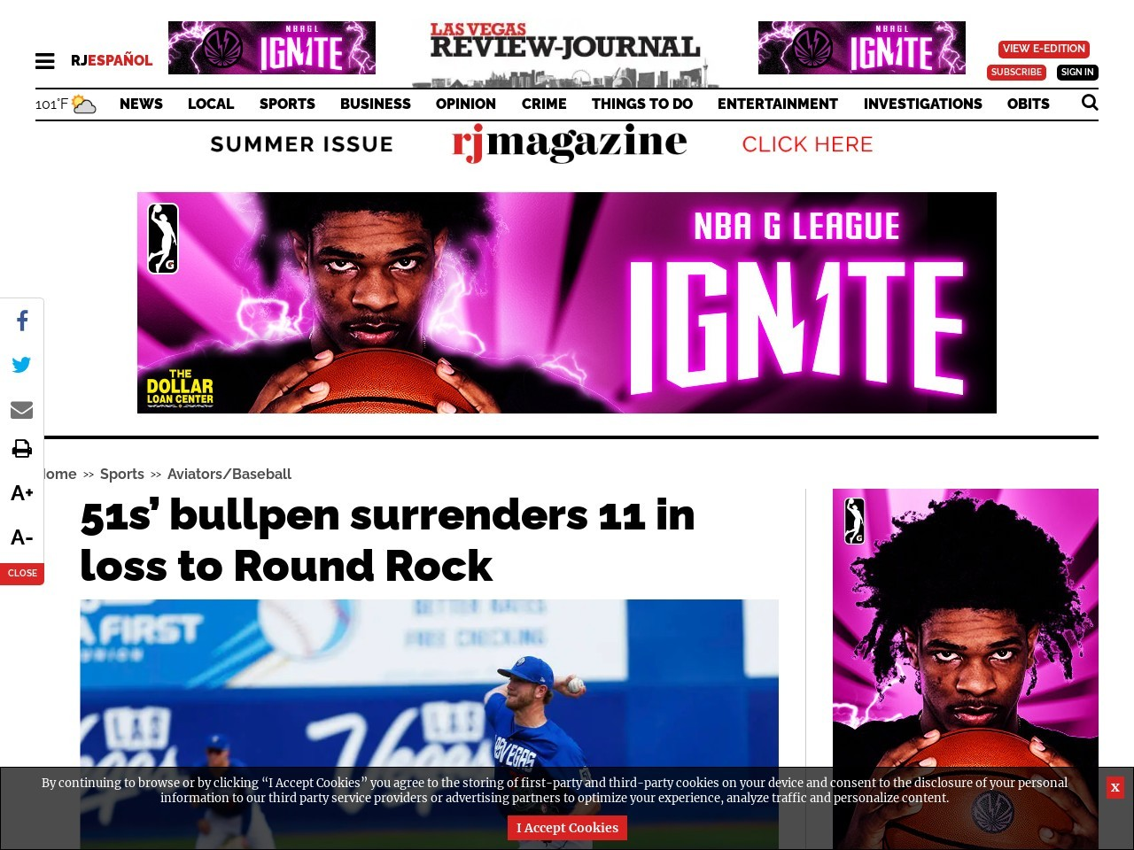 51s' bullpen surrenders 11 in loss to Round Rock