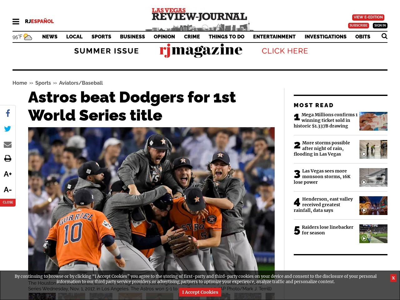 Astros beat Dodgers for 1st World Series title