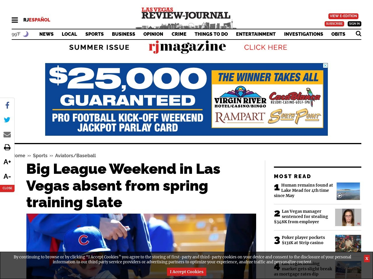 Big League Weekend in Las Vegas absent from spring training slate