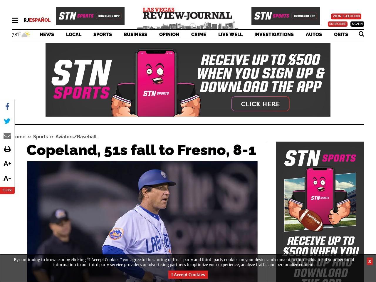 Copeland, 51s fall to Fresno, 8-1