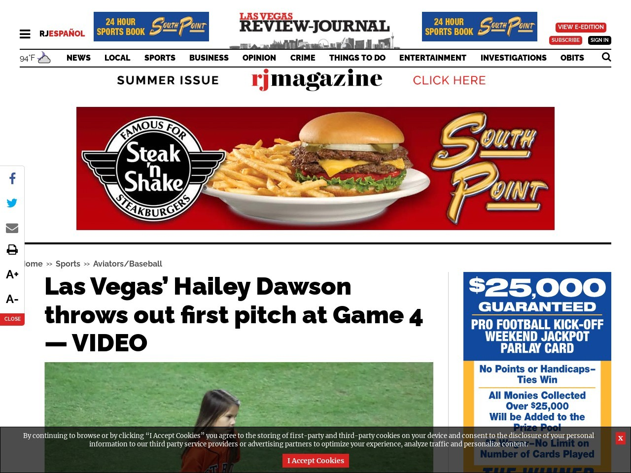 Las Vegas' Hailey Dawson throws out first pitch at Game 4 — VIDEO