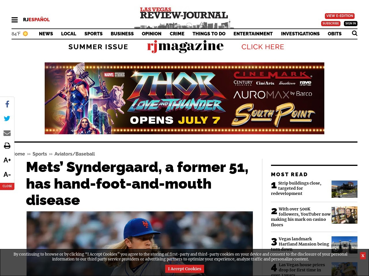 Mets' Syndergaard, a former 51, has hand-foot-and-mouth disease
