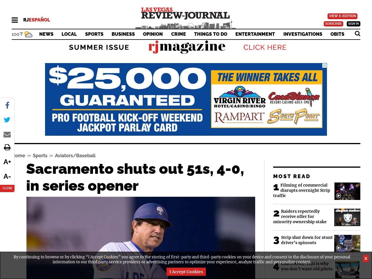 Sacramento shuts out 51s, 4-0, in series opener